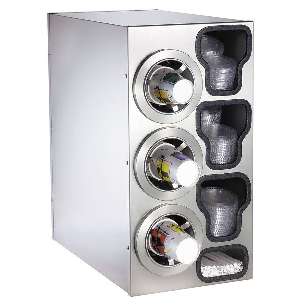 Dispense-rite CTCC3LSS Cup Dispensing Cabinet, (3) 8-44 oz Cups on Left, (3) Lid Chutes, (2) Straw