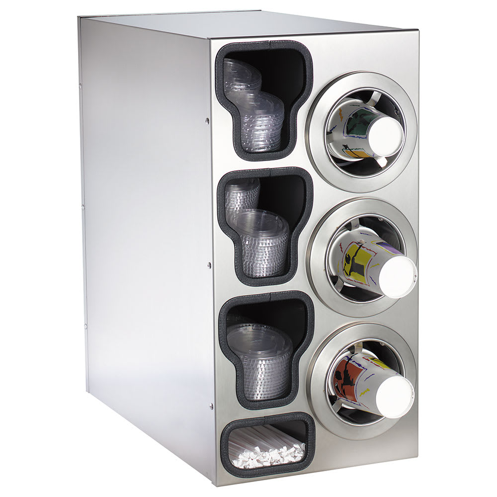 Dispense-rite CTCC3RSS Cup Dispensing Cabinet, (3) 8-44 oz Cups on Right, (3) Lid Chutes, (2) Straw