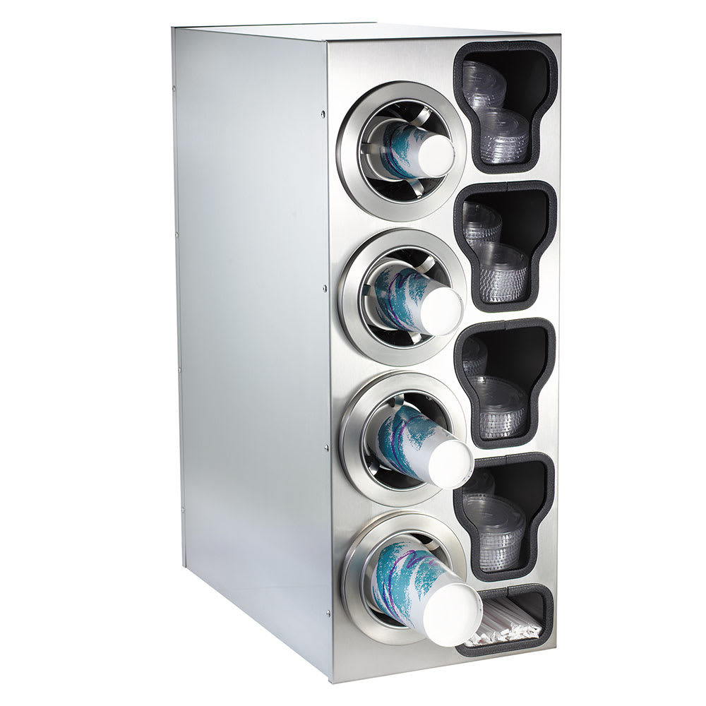 Dispense-rite CTCC4LSS Cup Dispensing Cabinet, (4) 8 44 oz Cups on Left, (4) Lid Chutes, (2) Straw