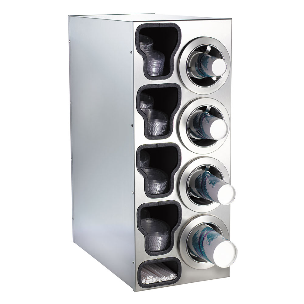 Dispense-rite CTCC4RSS Cup Dispensing Cabinet, (4) 8 44 oz Cups on Right, (4) Lid Chutes, (2) Straw