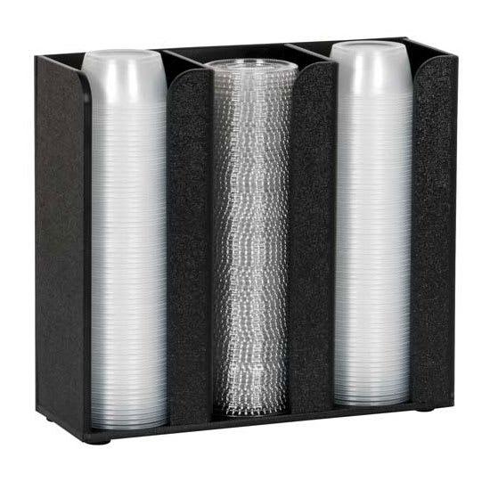 "Dispense-rite CTCO-3BT 3 Section Cup & Lid Organizer - 9.13"" x 10"", Polystyrene, Black"