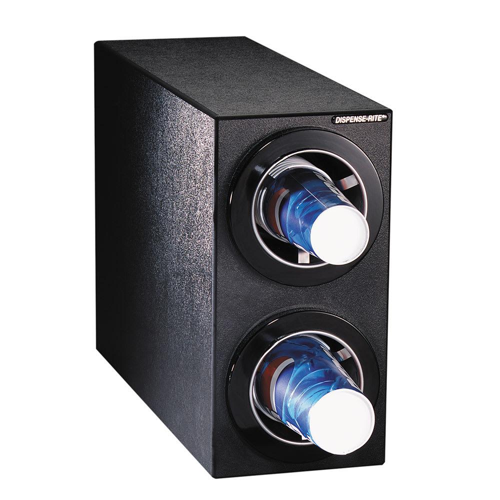 Dispense-rite CTCS2BT Cup Dispensing Cabinet, (2) 8 44 oz Cups, Black Texture Polystyrene