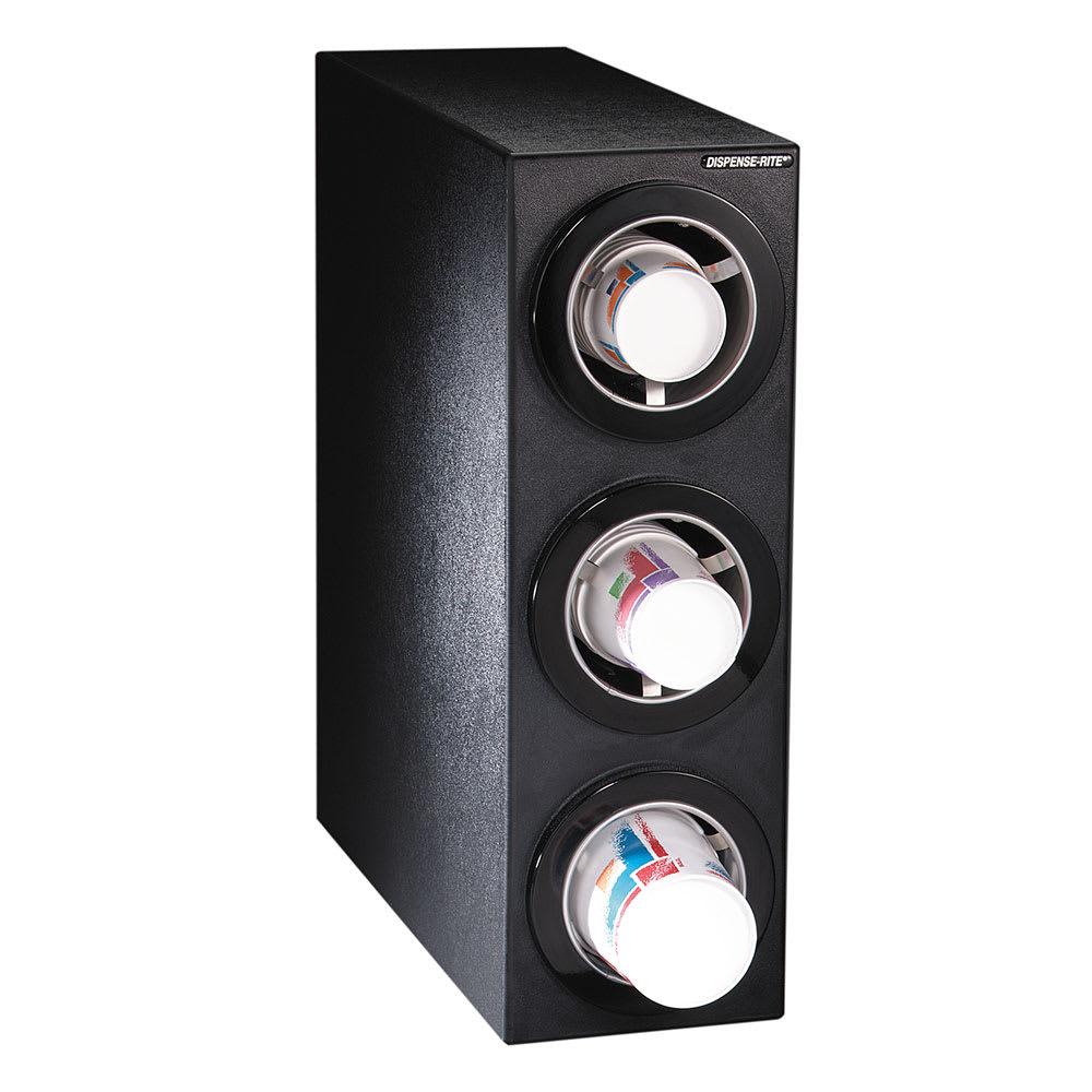 Dispense-rite CTCS3BT Cup Dispensing Cabinet, (3) 8-44 oz Cups, Black Texture Polystyrene