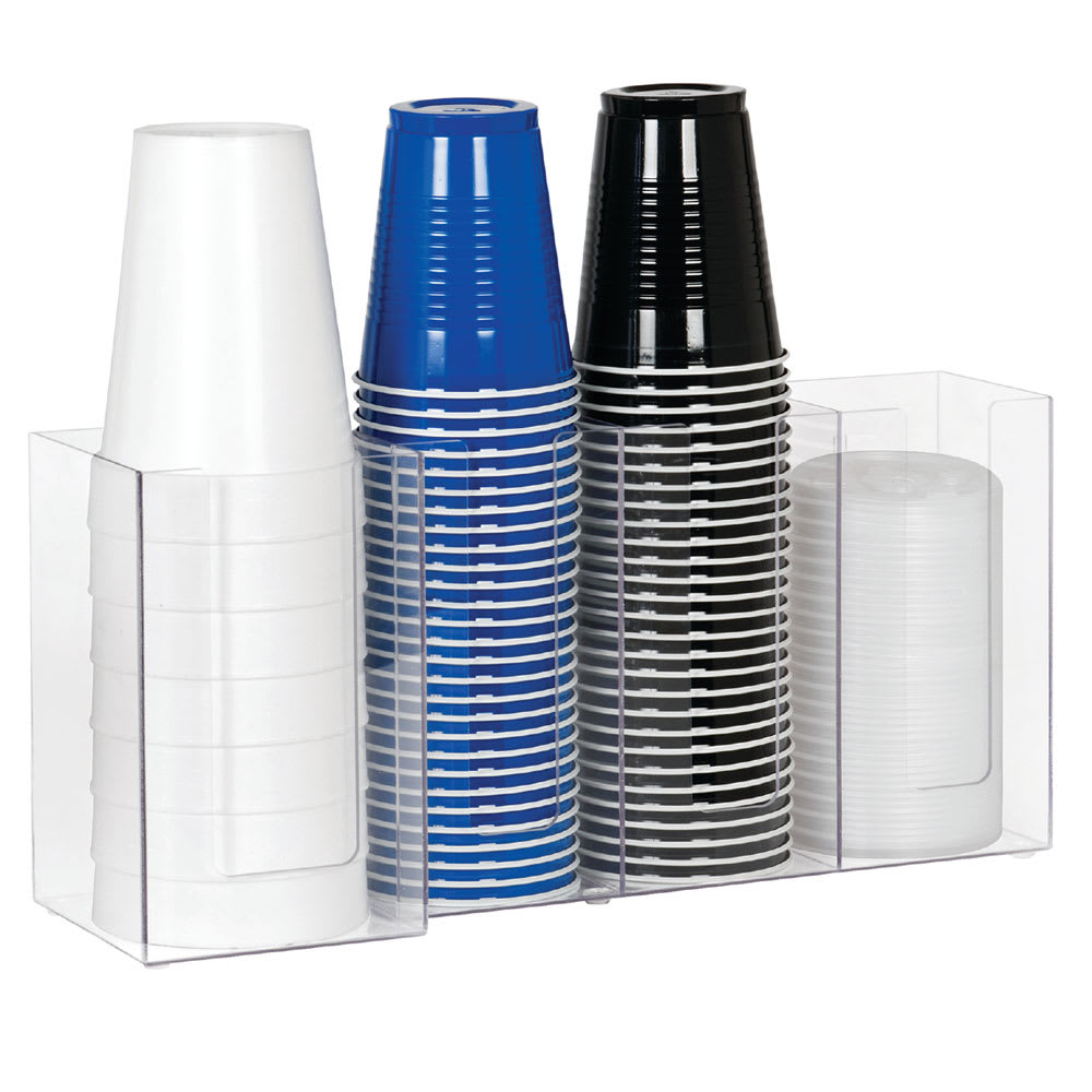 "Dispense-rite CTHL4 Lid/Cup Organizer, 4 Section: (3) 4""& (1) 5 in, Acrylic, Clear"