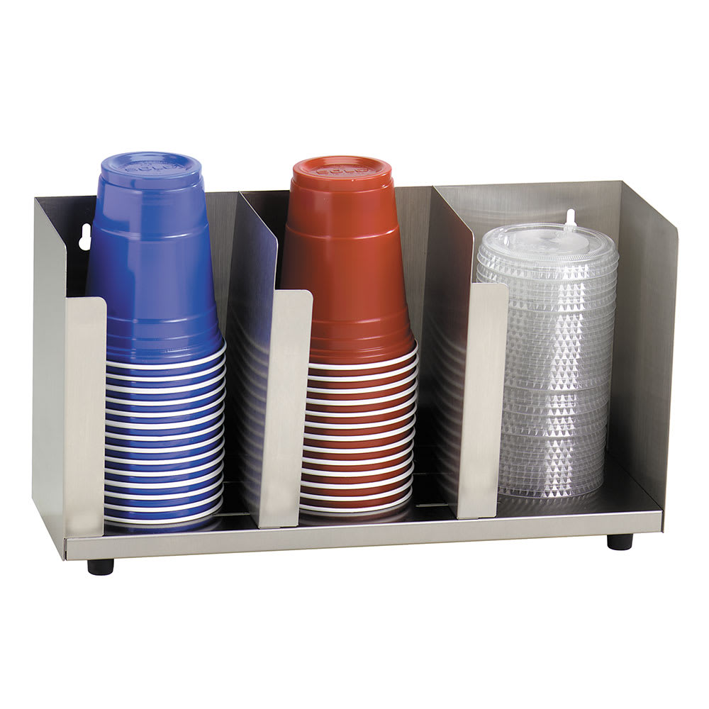 "Dispense-rite CTLD15 Lid/Cup Organizer, Adjustable, 3 Section, 15 1/2""W, Stainless Steel"