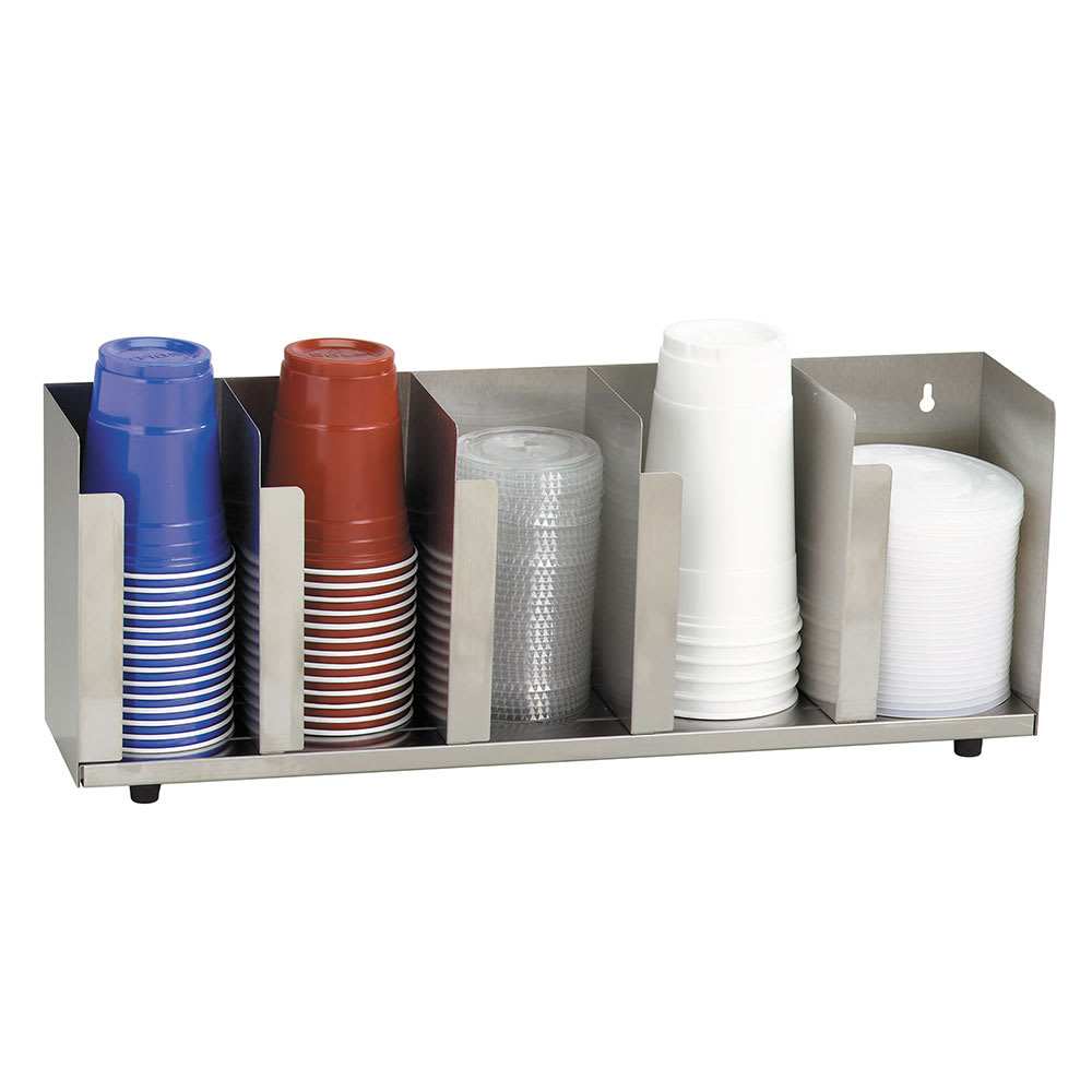 """Dispense-rite CTLD22 Lid/Cup Organizer, Adjustable, 5 Section, 22 1/2""""W, Stainless Steel"""
