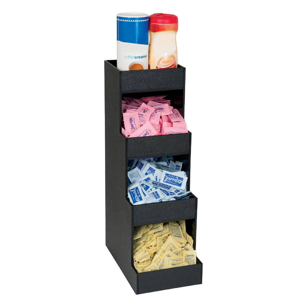 "Dispense-rite CTVH-4BT 4-Compartment Condiment Dispenser - 20.38"" x 6.63"", Polystyrene, Black"
