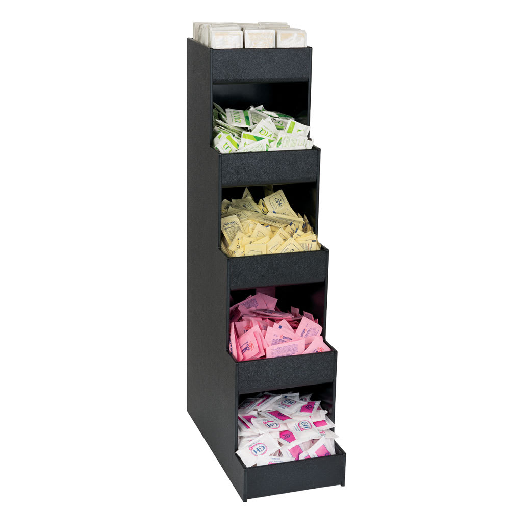 "Dispense-rite CTVH-5BT 5 Compartment Condiment Organizer - 26.38"" x 6.63"", Polystyrene, Black"