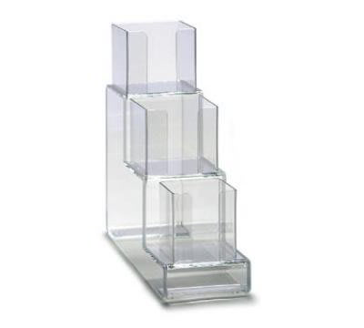 "Dispense-rite CTVL3 Lid Organizer, Vertical, 3 Section: (1) 4""& (2) 5 in, 6""W, Acrylic, Clear"