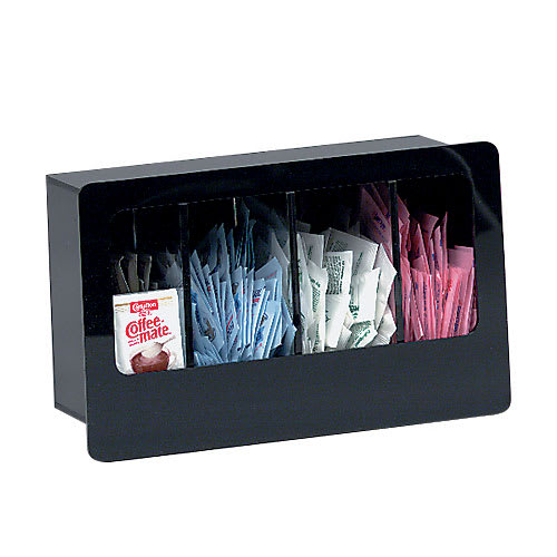 Dispense-rite FMC4 Condiment Dispenser, Built-In, 4 Section, Acrylic, Black