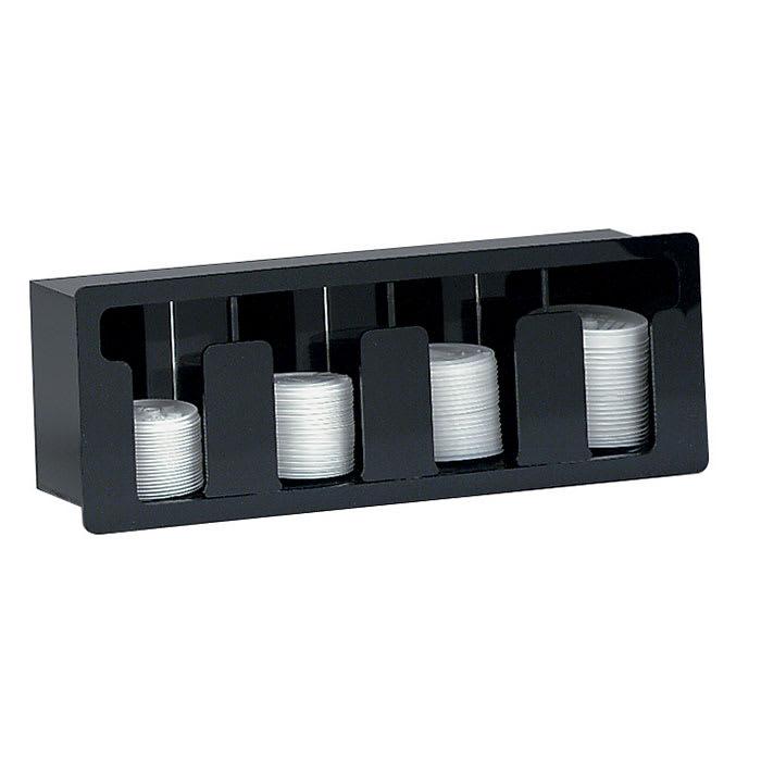 Dispense-rite FML4 Lid Dispenser, Built-In, 4 Section, Acrylic Black