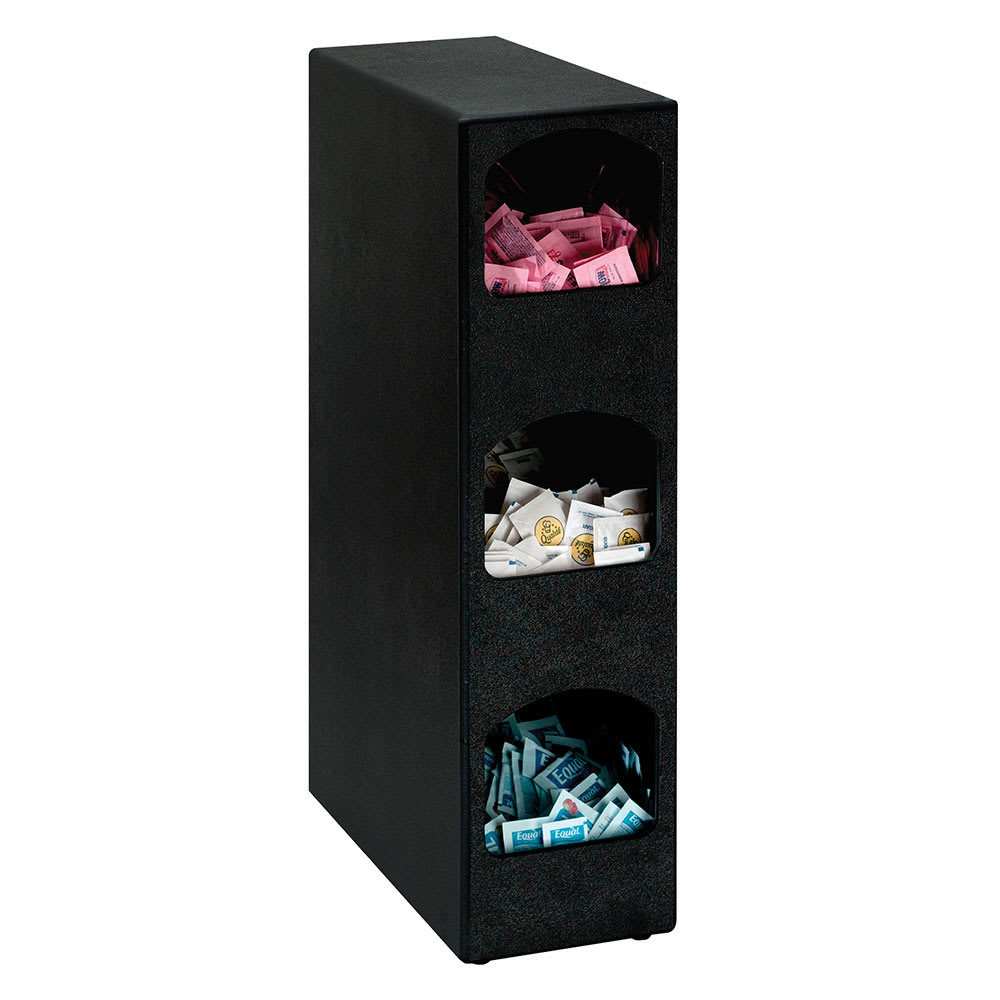 Dispense-rite HVCD3BT 3 Section Packeted Condiment Organizer, Polystyrene, Black