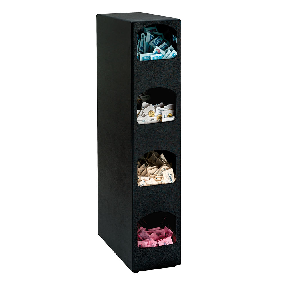 Dispense-rite HVCD4BT 4-Section Packeted Condiment Organizer, Polystyrene, Black