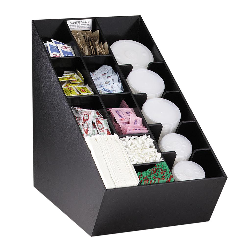 """Dispense-rite NLOCTVL Lid, Straw & Condiment Organizer, 20""""Hx 13-1/2""""W x 22-1/2""""D, Black"""