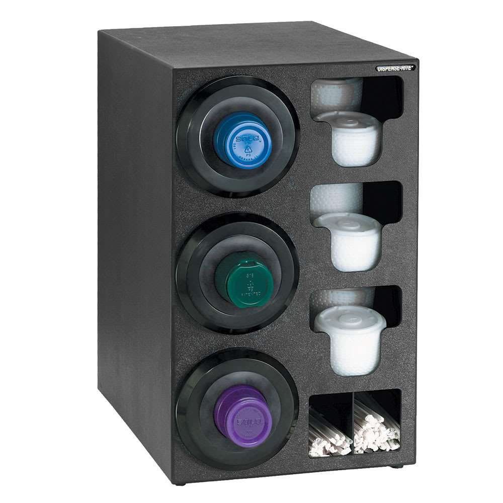 Dispense-rite SLRC3LBT Cup Dispensing Cabinet, (3) 8 44 oz Cups on Left, (3) Lid, (2) Straw, Black