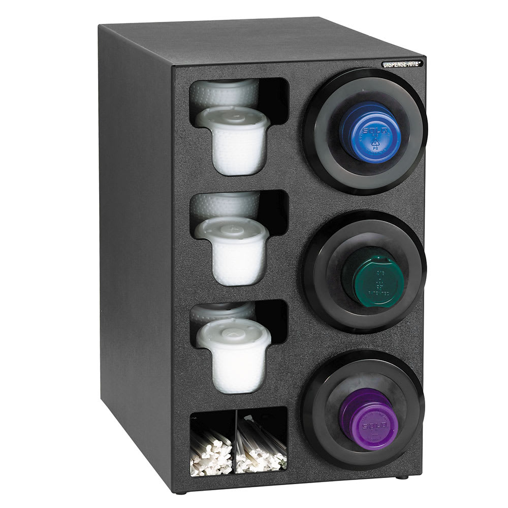Dispense-rite SLRC3RBT Cup Dispensing Cabinet, (3) 8 44 oz Cups on Right, (3) Lid, (2) Straw, Black