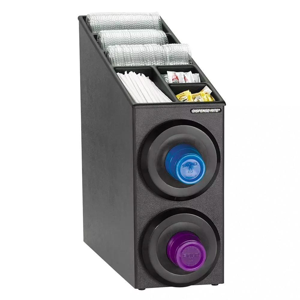Dispense-rite SLRSL2BT Cup Dispensing Cabinet, (2) 8-44 oz Cups, Lids, Condiments, Black