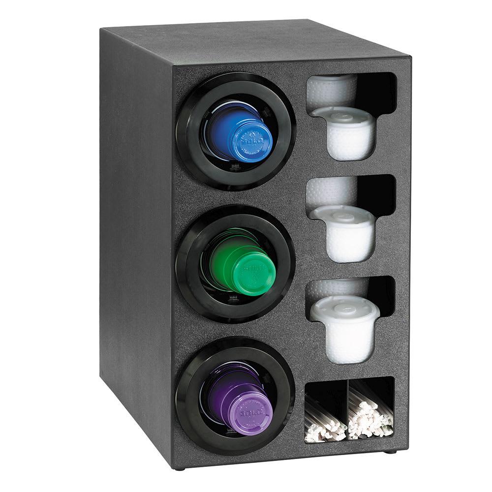 Dispense-rite STLC3LBT Cup Dispenser Cabinet, (3) 8-44 oz on Left, (3) E-Z Slide Lid, (2) Straw, Black