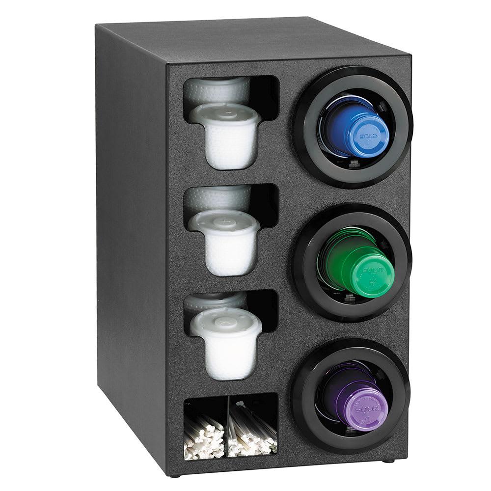 Dispense-rite STLC3RBT Cup Dispenser Cabinet, (3) 8 44 oz on Right, (3) E-Z Slide Lid, (2) Straw, Black