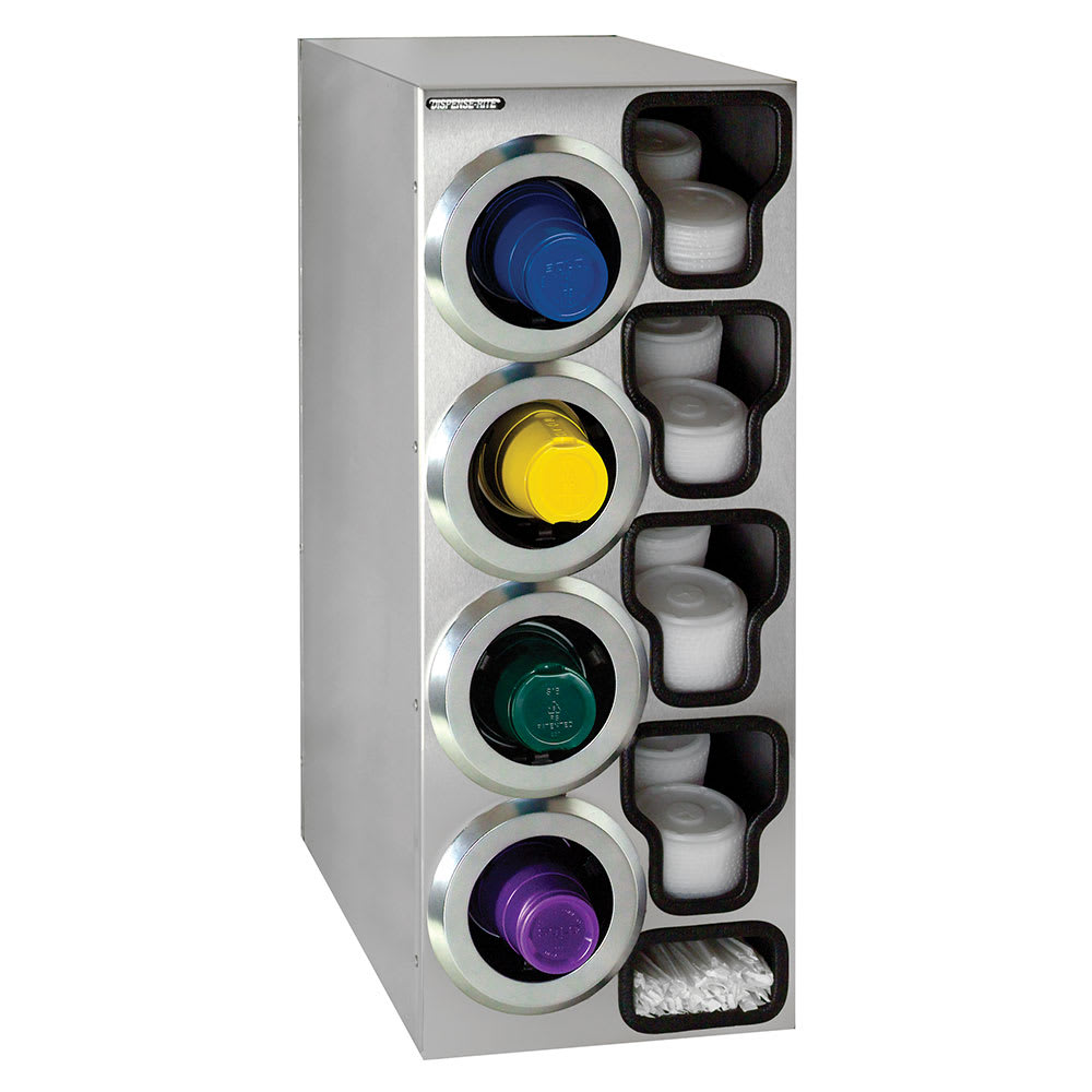 Dispense-rite STLC4LSS Cup Dispenser Cabinet, (4) 8-44 oz on Left, (4) E-Z Slide Lid, (2) Straw, SS