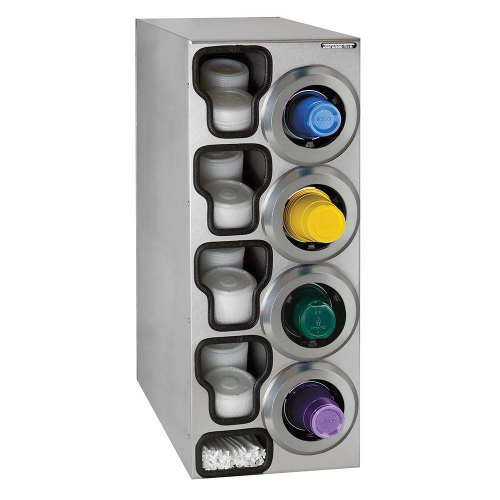Dispense-rite STLC4RSS Cup Dispenser Cabinet, (4) 8-44 oz on Right, (4) E-Z Slide Lid, (2) Straw, SS