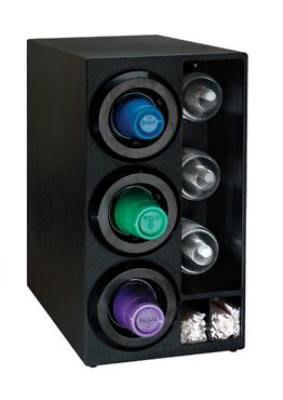 Dispense-rite STLDL3BT Cup Dispenser Cabinet, (3) 8-44 oz on Left, (3) Dome Lid, (2) Straw, Black