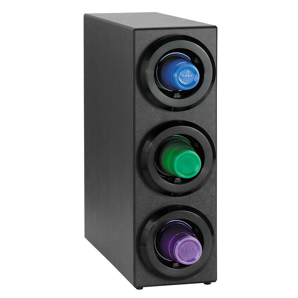 Dispense-rite STLS3BT Cup Dispenser Cabinet, (3) 8 44 oz Cups, Stackable, Black Polystyrene