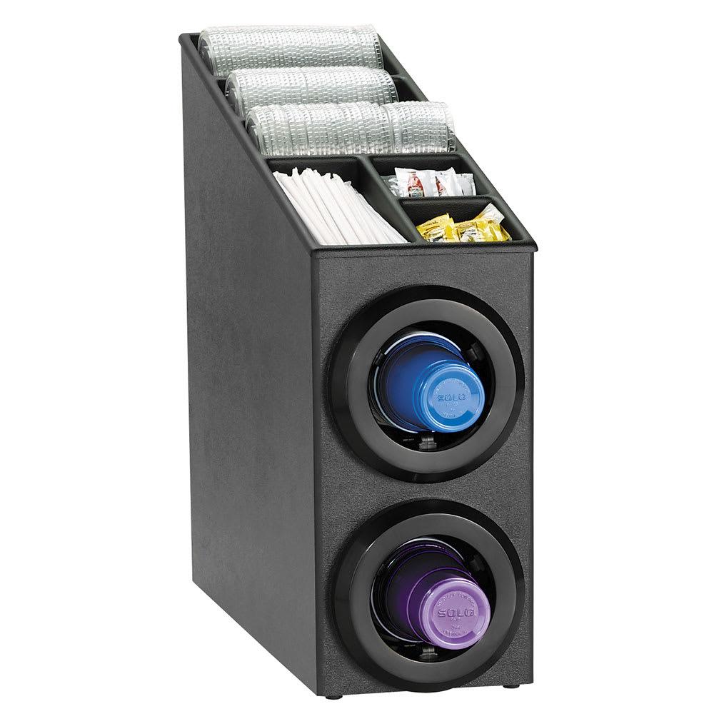 Dispense-rite STLSL2BT Cup Dispenser Cabinet, (2) 8-44 oz Cups, Lids, Straws, Black Polystyrene