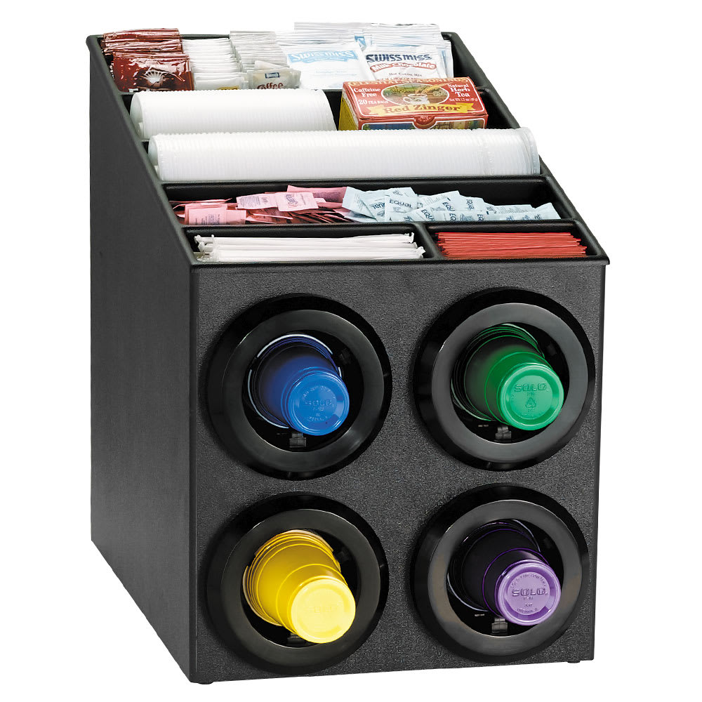 Dispense-rite STLSL2X2BT Cup Dispenser Cabinet, (4) 8-44 oz Cups, Lids, Straws, Black Polystyrene