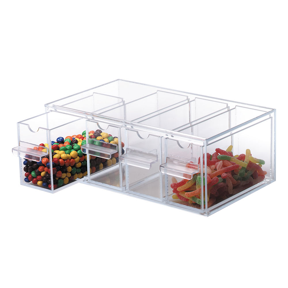 """Dispense-rite TD4 Topping Dispenser, 4 Section, 5-1/8""""H x 13-5/8""""W x 8""""D, Clear Acrylic"""