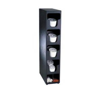 Dispense-rite TL04BT Lid & Straw Organizer, 4 Lid Sections, Black Polystryrene