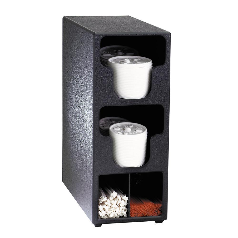 Dispense-rite TLO2BT Lid & Straw Organizer, 2 Lid Sections, Black Polystyrene