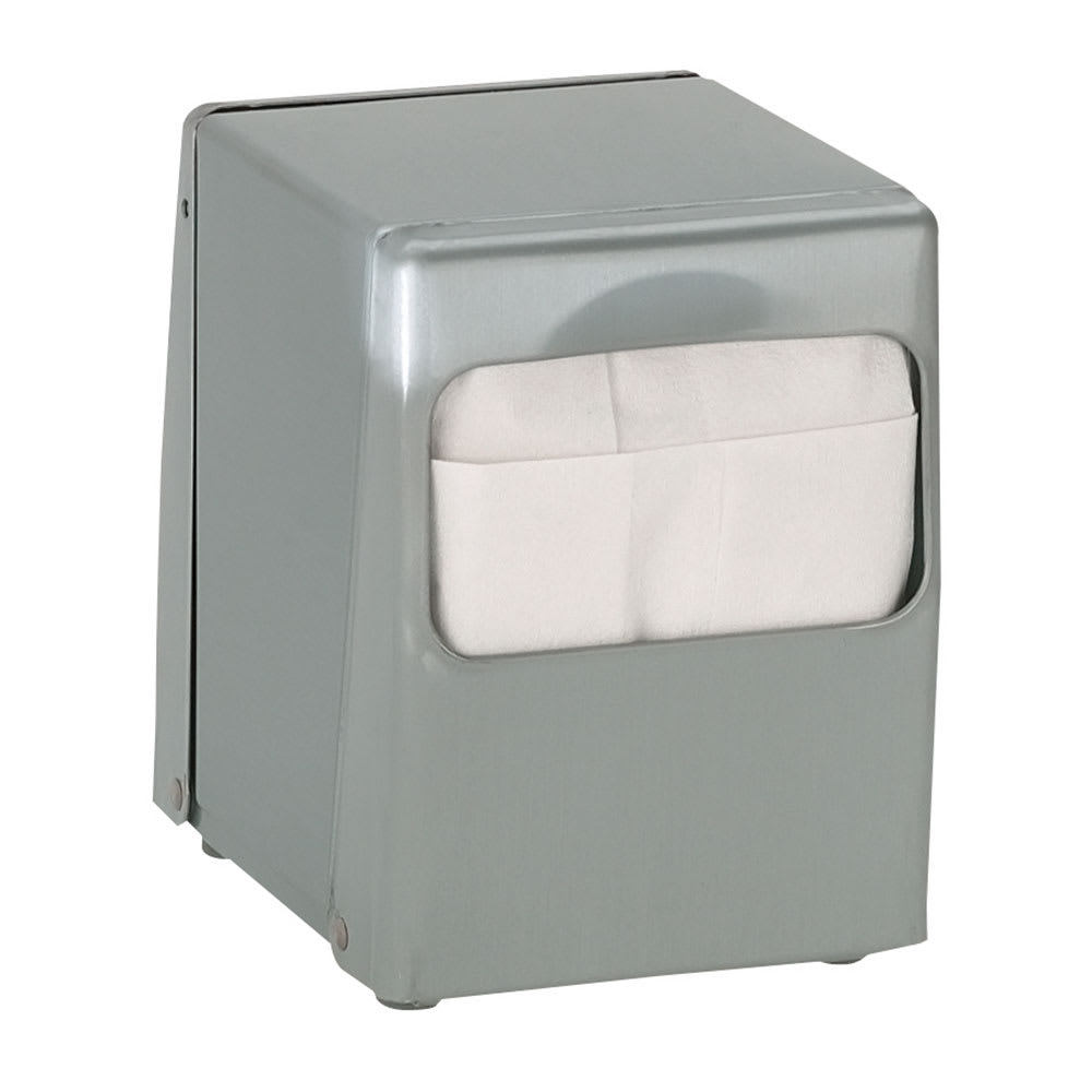 Dispense-rite TTLOWBS Napkin Dispenser, Low Fold 4 7/8 x 3 1/2 in, 2 Sided, Brushed Satin Steel