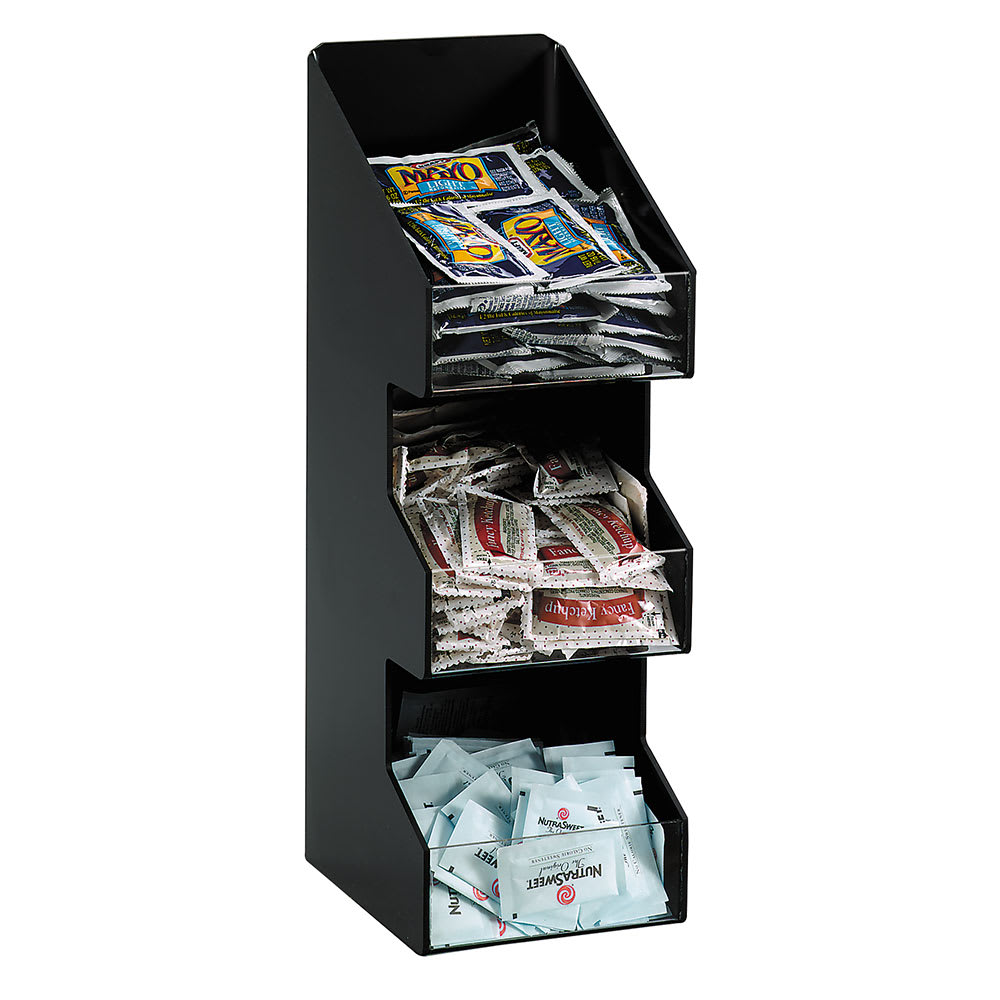 Dispense-rite VCO3 Lid or Condiment Organizer, 3 Section, Black Polystyrene