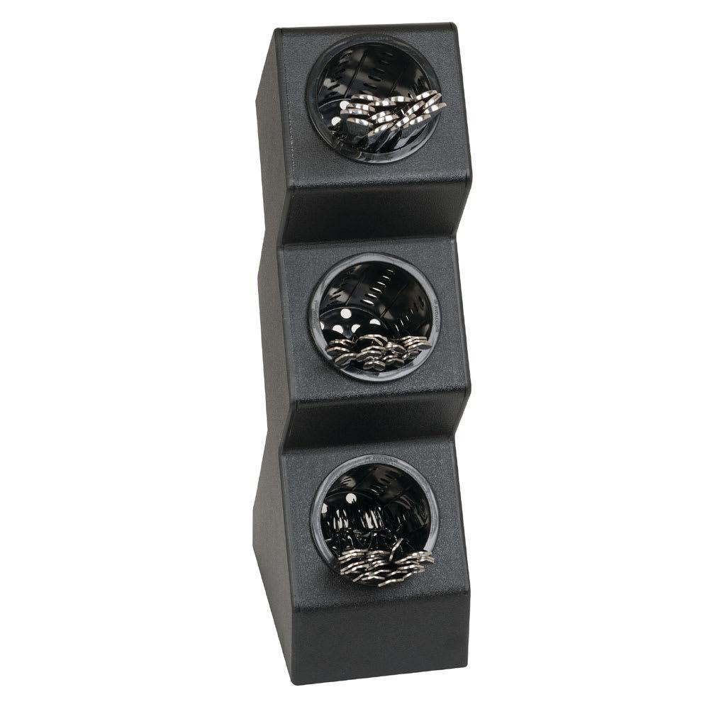 "Dispense-rite VSCH-3BT 3-Compartment Flatware Organizer - 6"" x 21.13"", Polystyrene, Black"