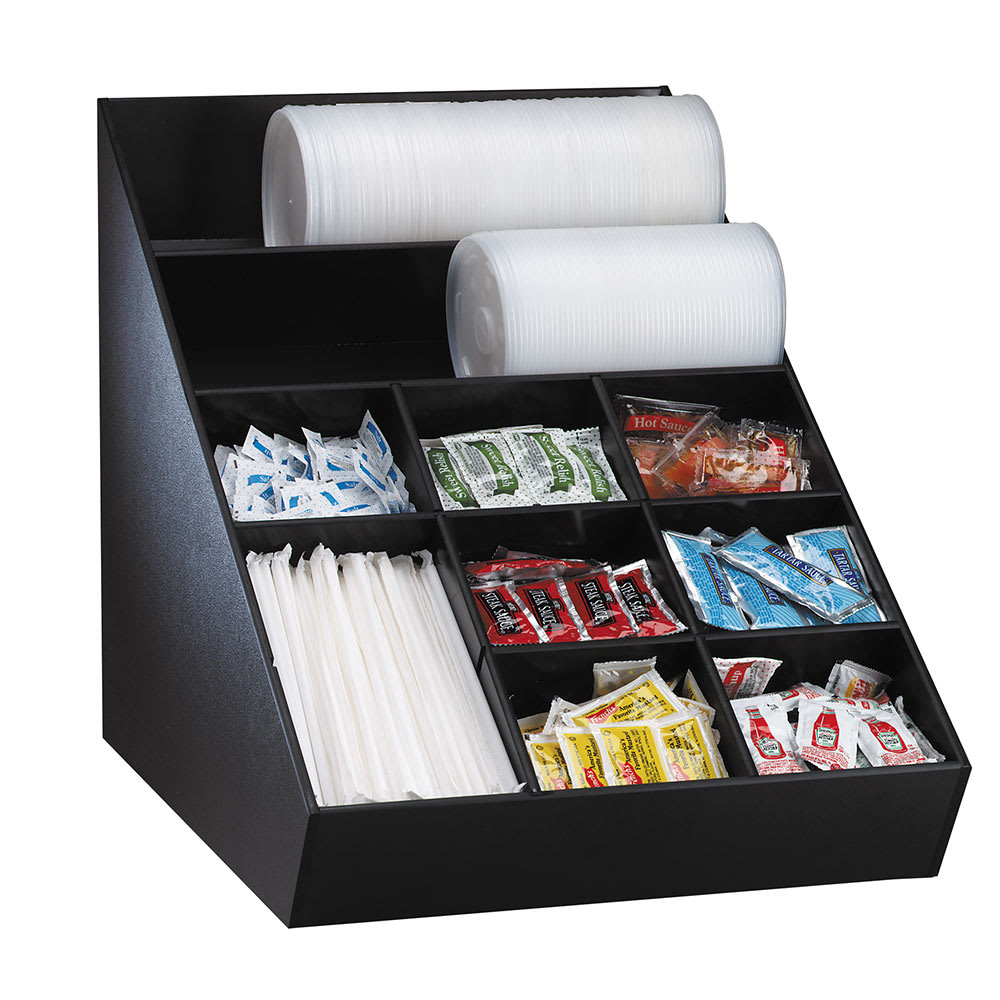 Dispense-rite WLO1B Lid, Straw & Condiment Organizer, Wide, 16-1/2 x 15 x 20-1/2 in, Black