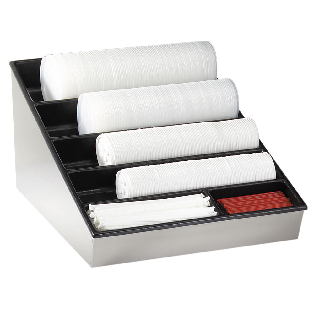 Dispense-rite WLS1 Lid, Straw & Condiment Organizer, Wide, 11-3/8 x 16-1/2 x 22-1/4 in, SS/ABS
