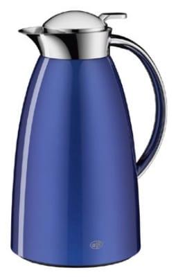 Service Ideas 3521253100 1-liter Coffee Server w/ Push Button Lid, Aluminum Exterior, Blue