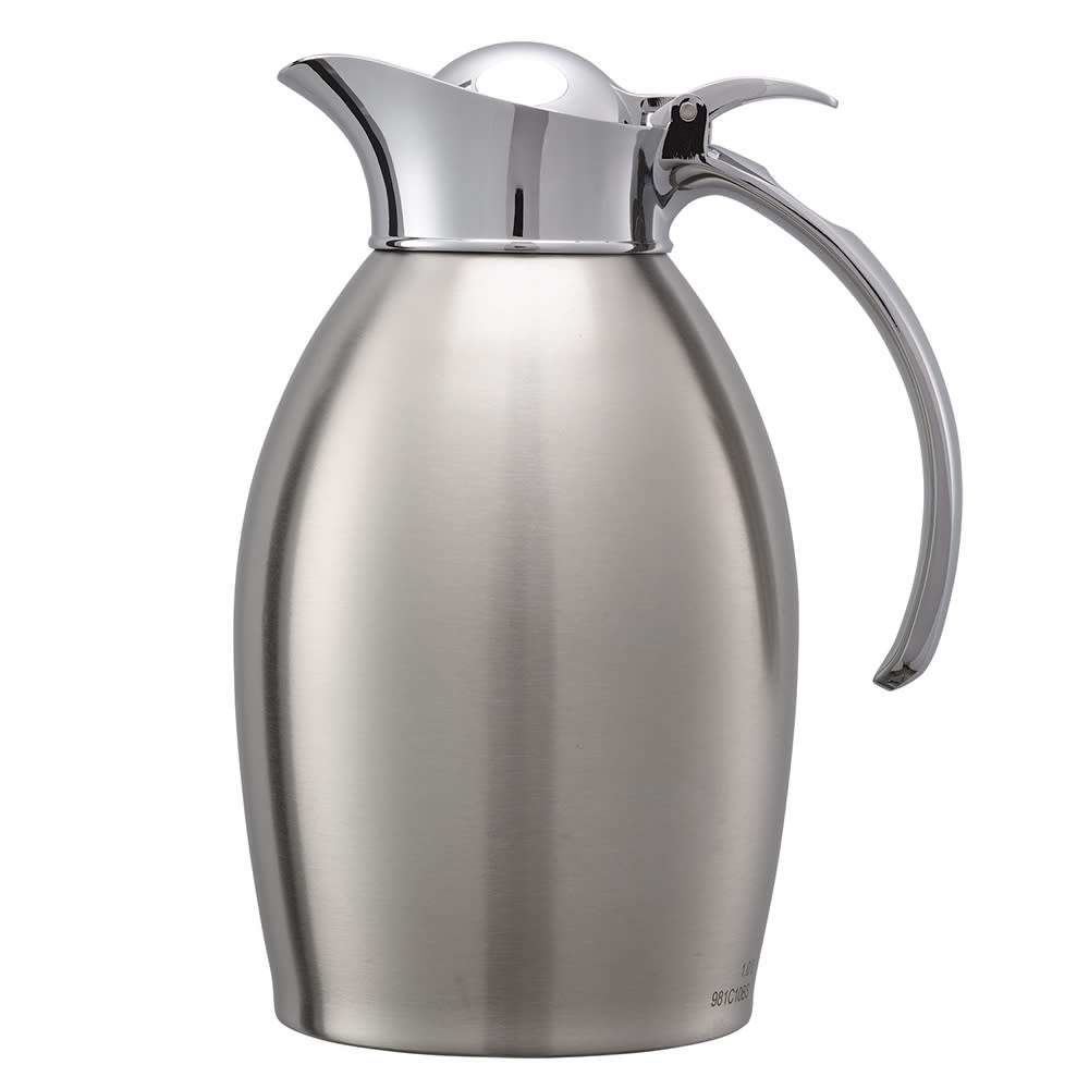 Service Ideas 98110BS 1-Liter Carafe w/ Vacuum Insulation, Brushed Stainless Finish