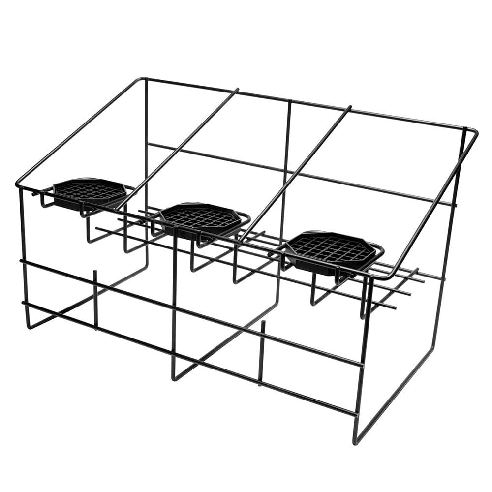 Service Ideas APR3BLC Airpot Serving Rack w/ 3-Compartments, Removable Drip Trays, Black