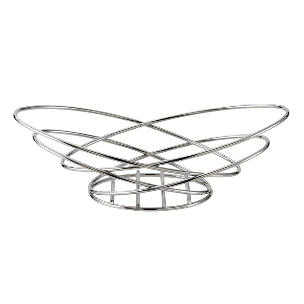 """Service Ideas BKWI Wide Bread Basket w/ Chromed Metal Wire, 13 x 7.5x 4"""""""
