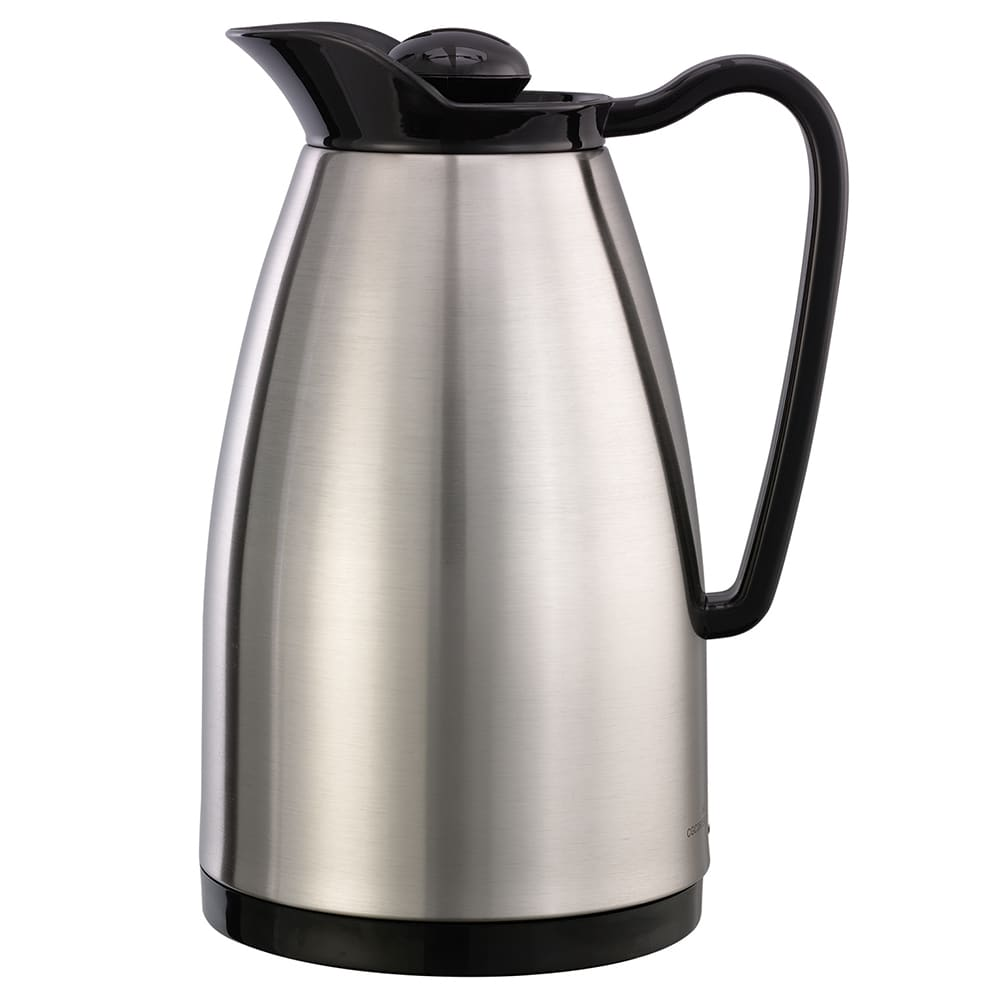 Service Ideas CGC060SS .6 liter Carafe w/ Glass Interior, Brushed Stainless, Black