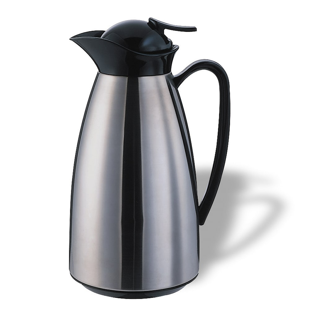 Service Ideas CJ10SS 1-liter Vacuum Carafe w/ Glass Liner, Brushed Stainless, Black