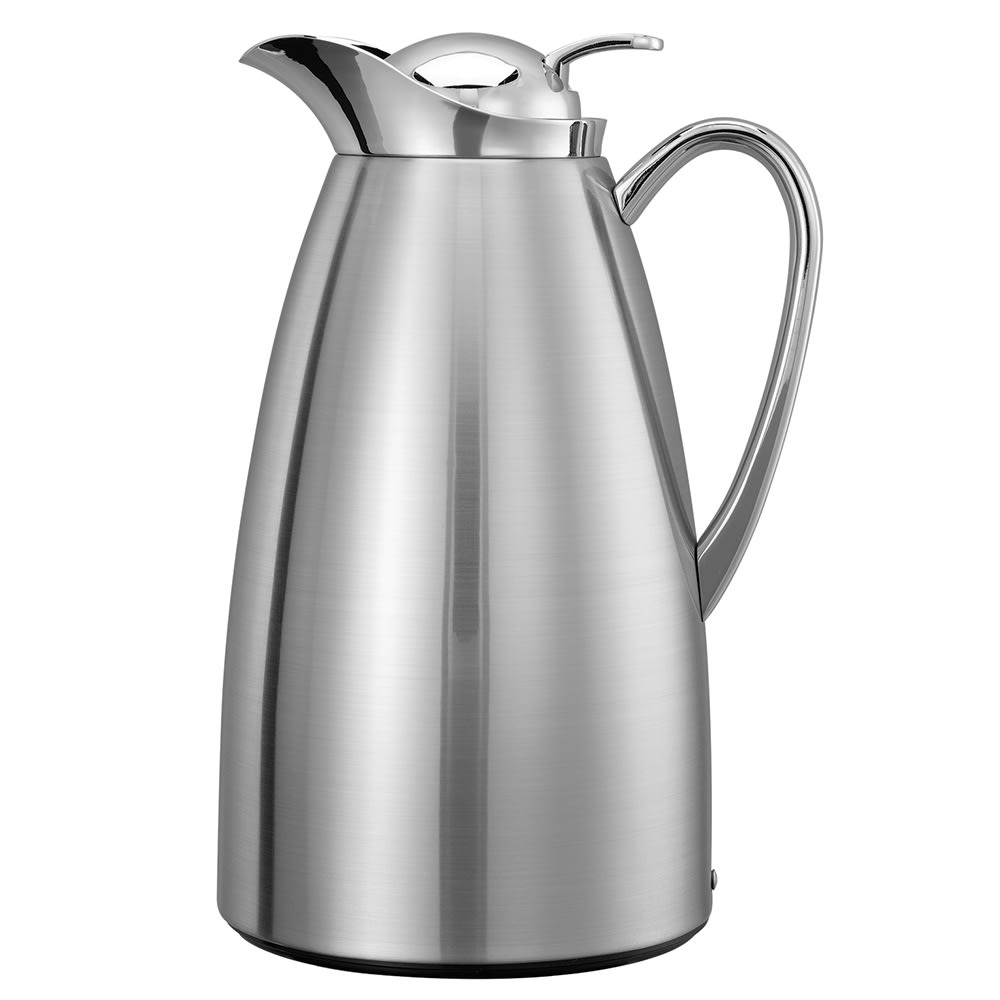 Service Ideas CJ1BS 1-liter Vacuum Carafe w/ Glass Liner, Brushed Stainless