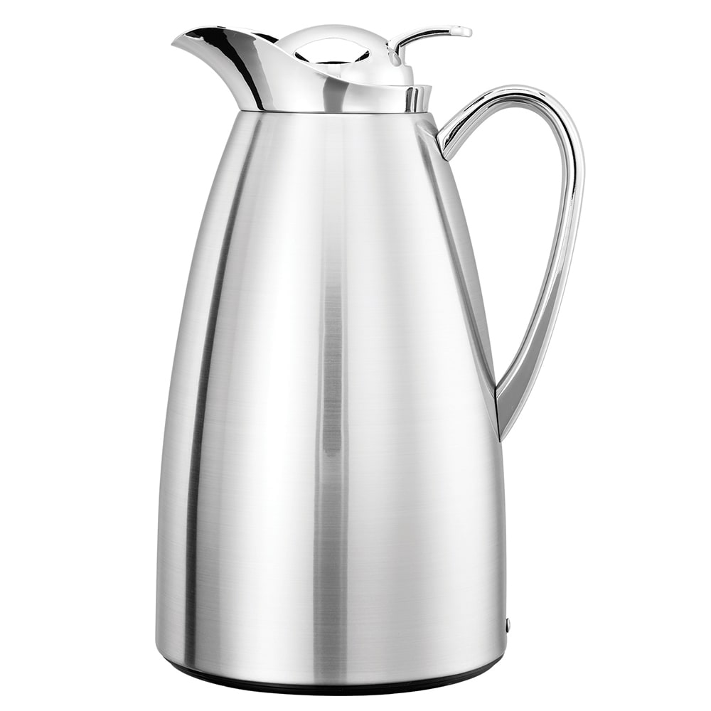 Service Ideas CJ1CH 1 liter Vacuum Carafe w/ Glass Liner, Chrome