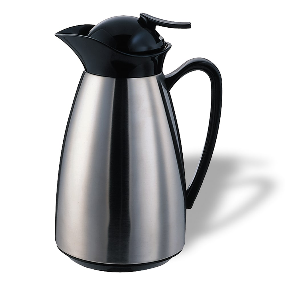 Service Ideas CJ6SS .6 liter Vacuum Carafe w/ Glass Liner, Brushed Stainless, Black
