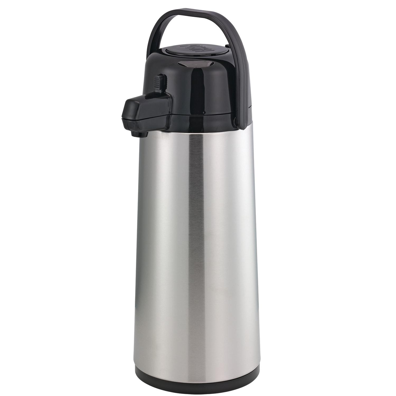 Service Ideas ECA22S 2.2-liter Pump Style Airpot w/ Glass Liner, Stainless, Black