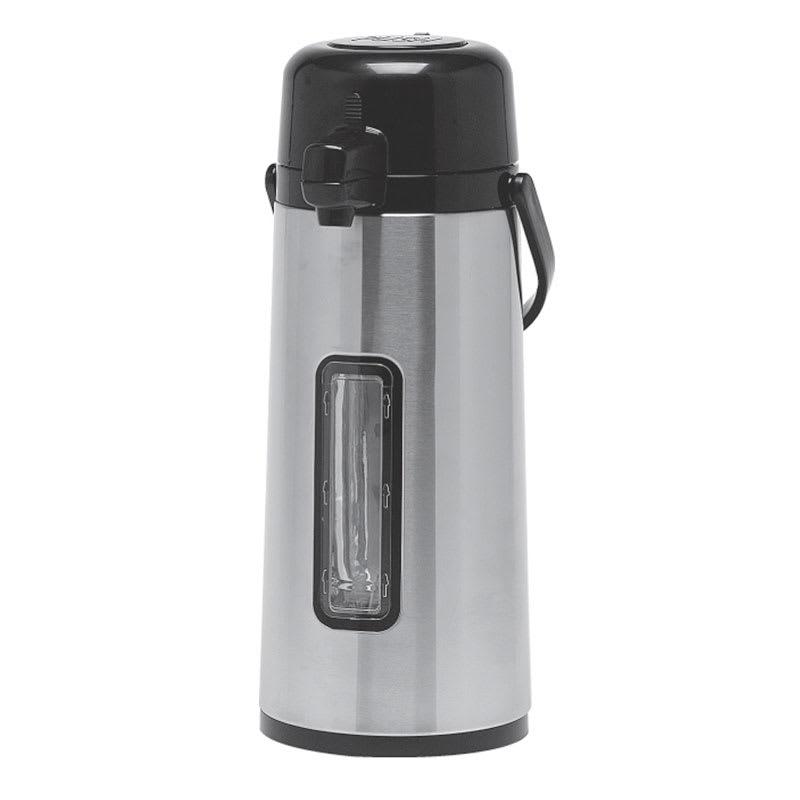 Service Ideas ECA22SG 74.4-oz Airpot w/ Pump, Vacuum Insulated, Glass Interior, Stainless Exterior
