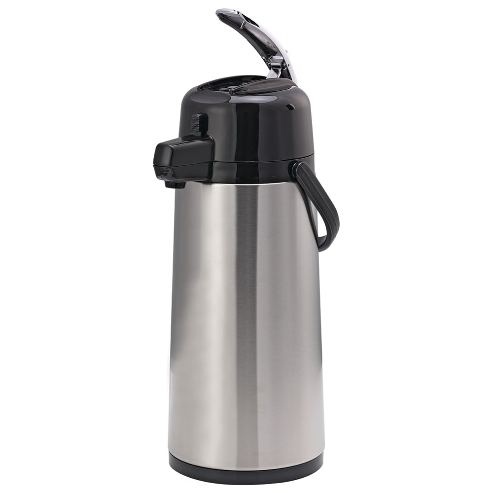 "Service Ideas ECALS22SS 81.1 oz Airpot w/ 6 hr Retention & Lids, 15.25 x 6 x 8"", Black Finish"