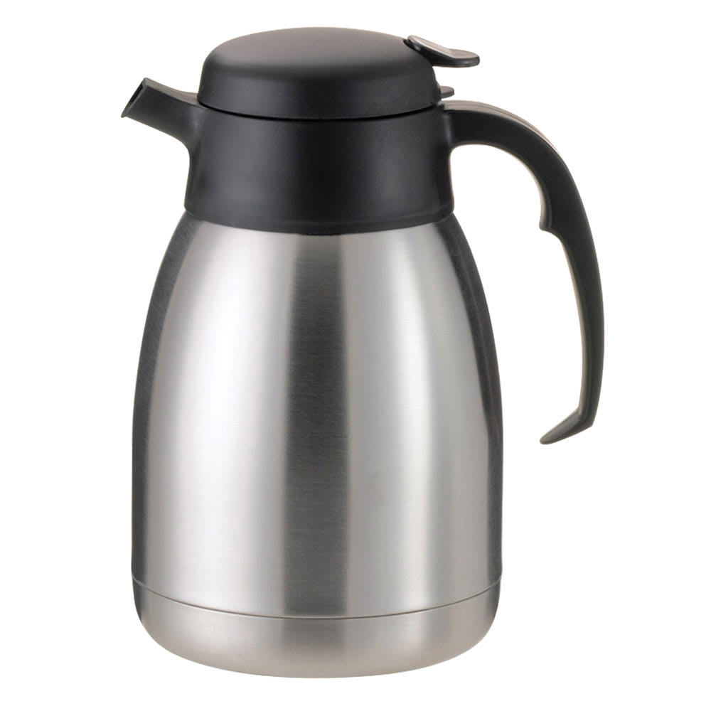 Service Ideas FVP20 2-liter Carafe w/ Unbreakable Liner, Stainless, Black Finish